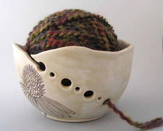 Yarn Bowl  Echinacea   Botanical  Hand Thrown Ceramic by JustMare.