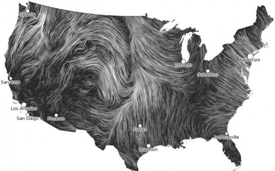 Kinetic Map Shows Real Time Wind Speeds In The Us During Hurricane Sandy Wind Map And Wind Speed Map