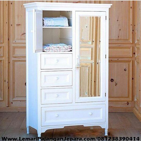 Harga Lemari Pakaian Anak Pintu Cermin merupakan Produk Furniture Anak dengan desain Lemari Pakaian Minimalis Anak Perempauan Cat Putih