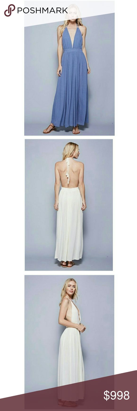 🆕 COMING SOON  Stone Wash Blue Boho Halter Maxi Stunning Bohemian Maxi Dress, light stone wash blue, summery beach wear, low cut halter front, open back, elastic fit waist.   100% Rayon  Also available in cream  Price will be approx  $55 PRICE IS FIRM UNLESS BUNDLED   Like this listing to be notified upon arrival Boutique  Dresses Maxi