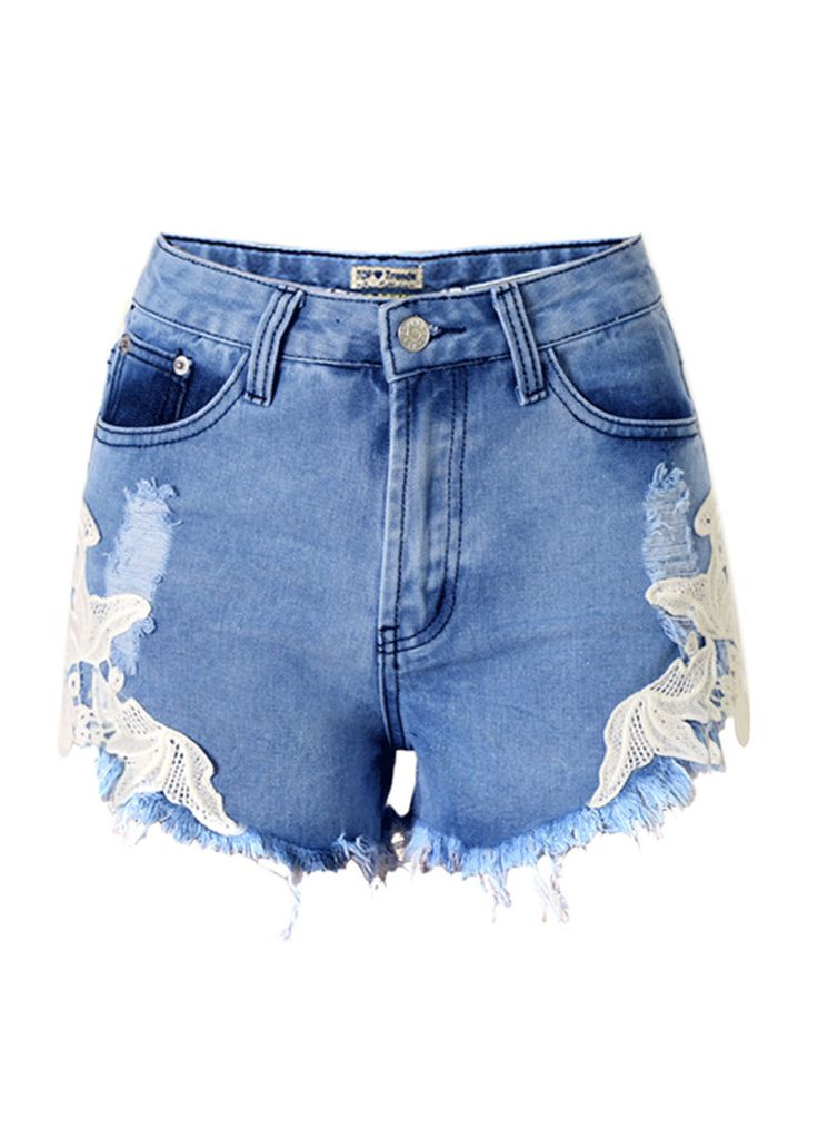 Side Embroidery Spliced Ripped High Waist Denim Shorts_Denim Shorts Jeans_Women Jeans_Sexy Lingeire | Cheap Plus Size Lingerie At Wholesale Price | Feelovely.com