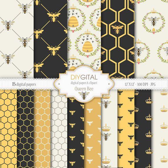 Bee Digital Paper Set: Queen Bee  15 Printable digital by DIYgital