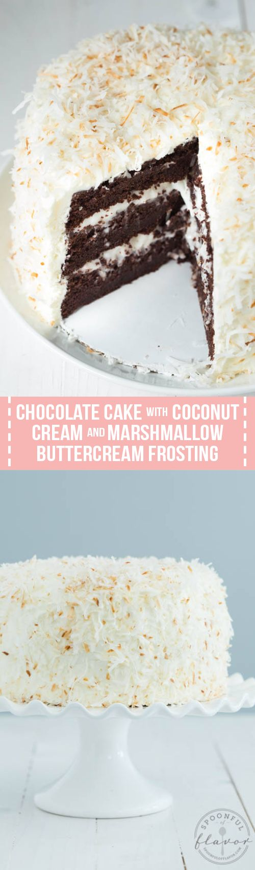 Chocolate cake with coconut cream filling, marshmallow buttercream frosting and toasted coconut is the perfect cake recipe for birthdays, holidays, parties and more! This 3-layer cake is packed with flavor and irresistible!