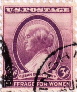 US Postage Stamp 3 Cent Susan B Anthony Suffrage For Women Issued 1936 Scott Catalog 784