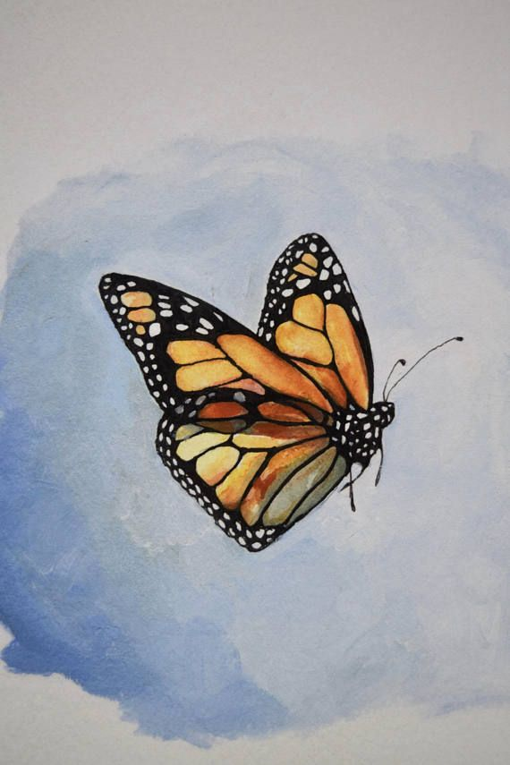 Minimalist Illustration Of A Monarch Butterfly In Flight