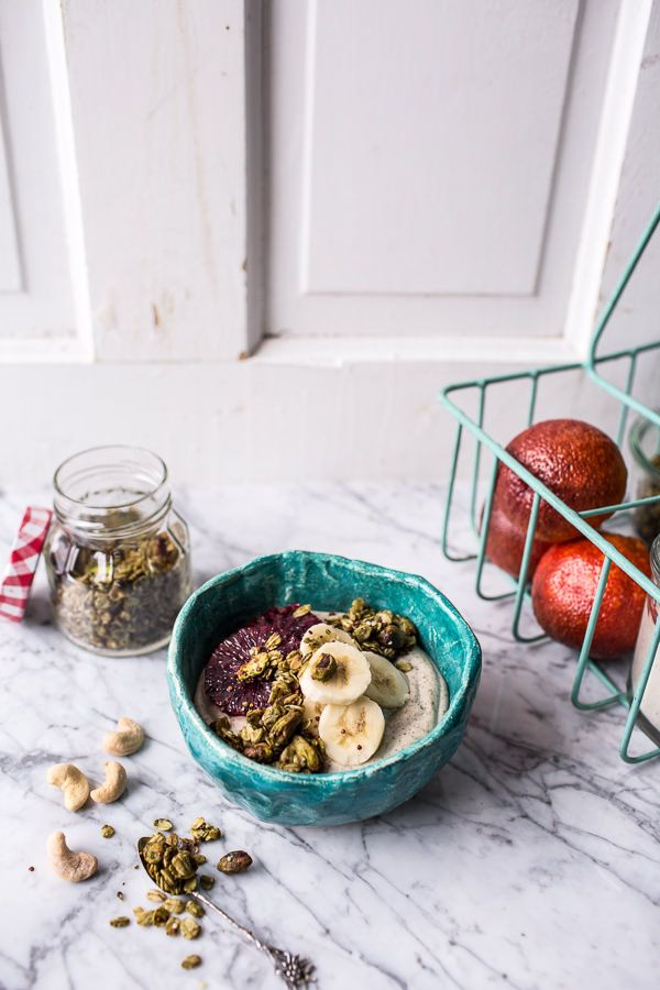 Roasted Cashew-Almond Yogurt Bowl with Stove-Top Matcha Green Tea Granola | halfbakedharvest.com @hbharvest @almondbreeze