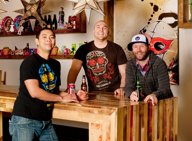 Daniel Braun, Chris Sills and Chef Edgar Gutierrez, Tres Carnales, Edmonton, AB.