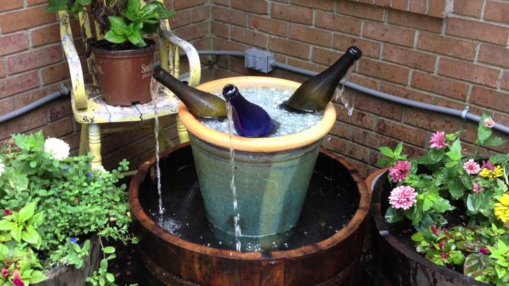 Wine bottle and barrel fountain i will for Wine bottle fountain