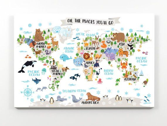 Kids World Map Canvas Playroom Wall Art Animal Nursery Baby Etsy