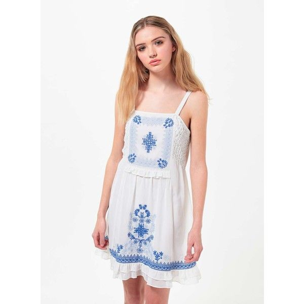 Miss Selfridge Petites Embroidered Sun Dress featuring polyvore, women's fashion, clothing, dresses, ivory, petite, white sundress, summer cocktail dresses, summer dresses, white dresses and cocktail dresses