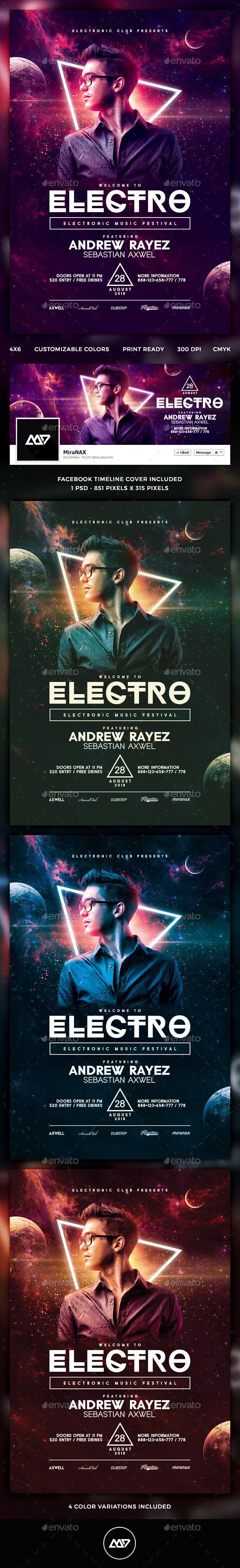 Electro Flyer #concert #dance #disco #dj #dj flyer #$6