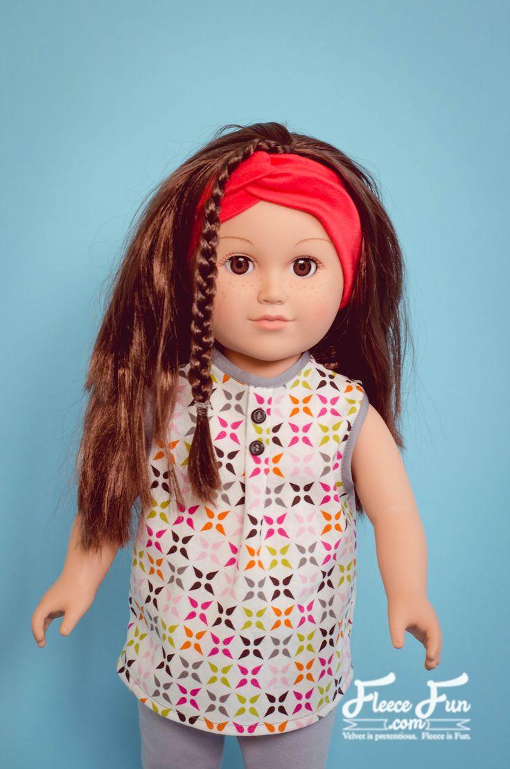 American Girl Doll Button Tunic free pattern and tutorial ♥ Fleece Fun-18 inch doll