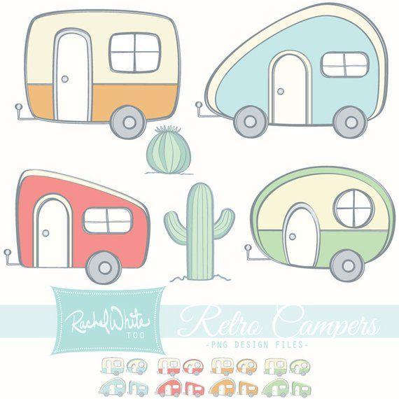 Retro Campers Vector Illustrations 24 Images Color Line Art Ai Eps Png Instant Download Retro Campers Camper Art Retro