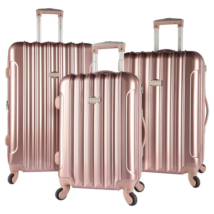 Kensie 3 pc Expandable Hardside Luggage Set - Rose Gold, Light Gold