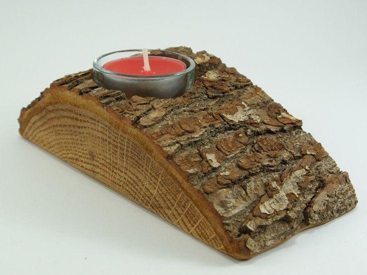 Dębowy świecznik w Drewno Do Ogrodu na DaWanda.com