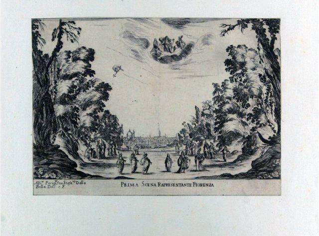 Prima scena rapresentante Fiorenza. Alfons. Parigus. inv. SDB deli e f.
