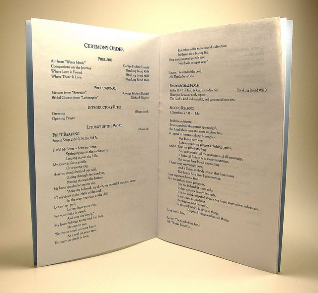 Catholic Wedding Programs.  To help the guests with all that standing, sitting kneeling