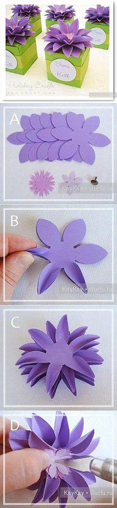 Идея для украшения подарка бумажным цветком / Украшение для дома к празднику. Упаковка подарков, подарочные коробки своими руками / КлуКлу. Рукоделие - бисероплетение, квиллинг, вышивка крестом, вязание