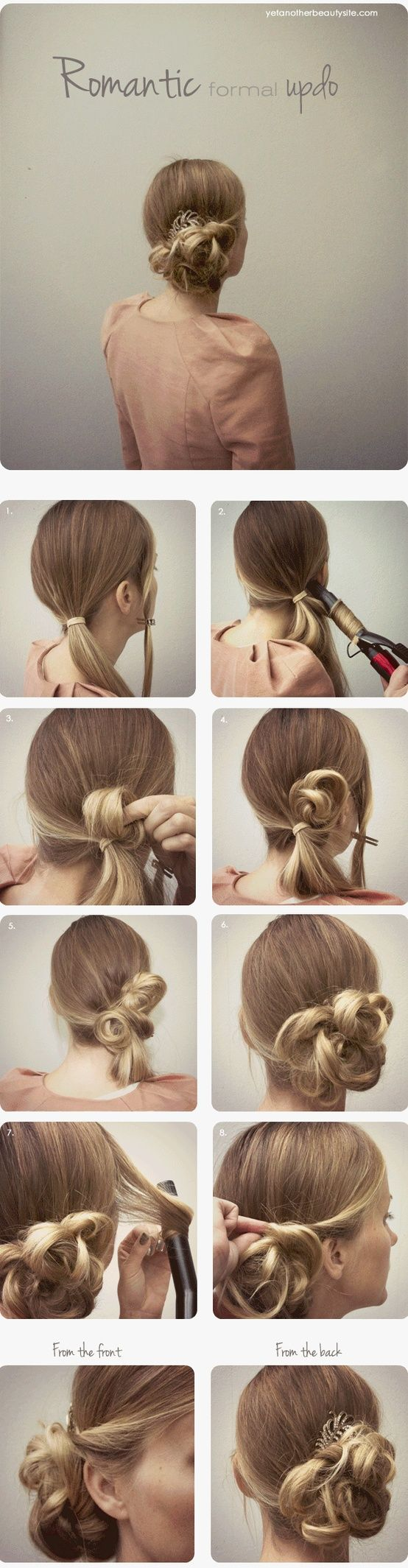 Love how easy this can be in the morning with bed head! Just some bobby pins, a curling iron, and one pony (two if your hair is thick like mine!)