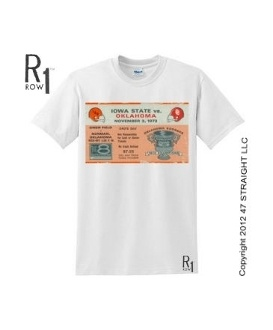 ROW 1™ 1973 OU football ticket tee. Great football gifts made from authentic Oklahoma football tickets! The best football gifts are at http://www.shop.47straightposters.com/73-IOWA-STATE-VS-OKLAHOMA-Football-Ticket-Shirt-73ISUOK.htm $23.99
