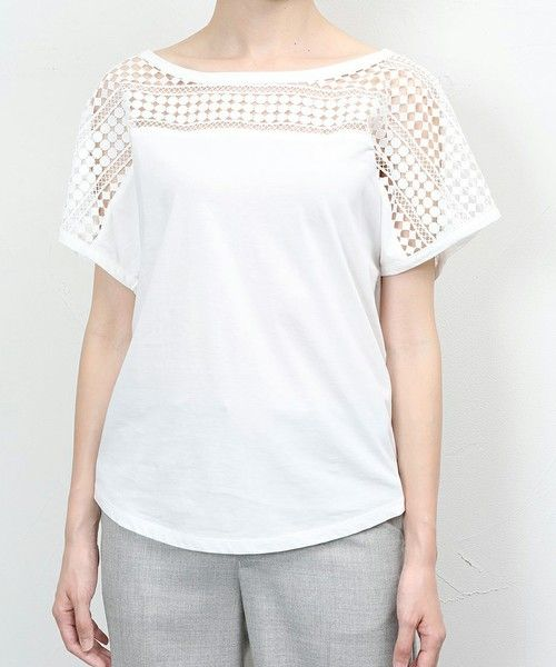 NINE(ナイン)のケミカルレースTシャツ(Tシャツ/カットソー)|ホワイト