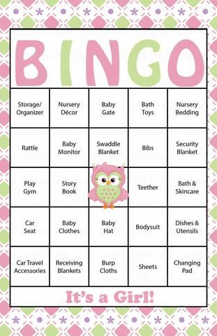 Owl Baby Bingo Cards - Printable Download - Prefilled - Baby Shower Game for Girl - Pink & Green