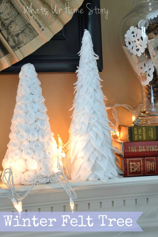 DIY Winter felt tree.Could use red felt for Valentine's or Christmas tree, Green for St.Patty's day or Pastel colors for Easter, Orange for Fall www.whatsurhomestory.com