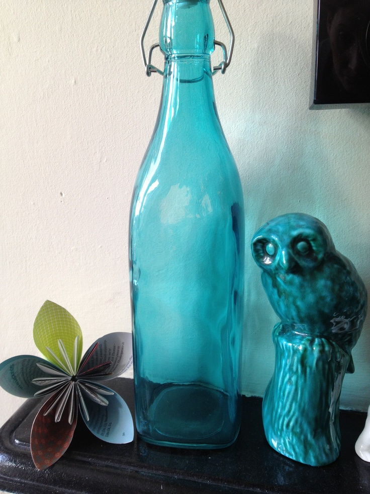 Bottle and owl turquoise