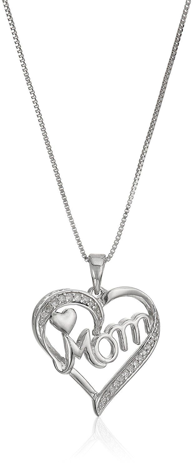 Sterling Silver Diamond Mom Heart Pendant Necklace (1/10cttw, J-K Color, I2-I3 Clarity), 18' * More info could be found at the image url. (This is an Amazon Affiliate link)