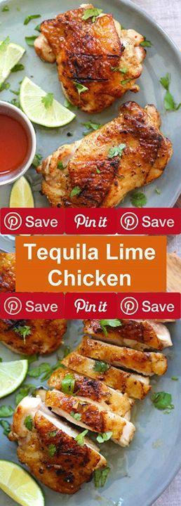Tequila Lime Chicken 35 mins to make serves 3 Ingredients Produce 1 Cilantro 3 cloves Garlic 1 Lime wedges Condiments 2 tbsp Lime juice Baking & Spices 3 dashes Cayenne pepper  tsp Salt Oils & Vinegars 2 tbsp Olive oil Beer Wine & Liquor  cup Tequila Other 1  S lb skin-on deboned chicken thighs (click to learn how)