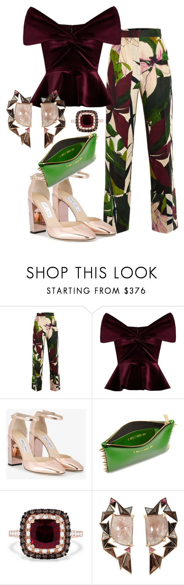 """""""Tropical Ensemble"""" by xingandco ❤ liked on Polyvore featuring Erika Cavallini Semi-Couture, Emilio De La Morena, Jimmy Choo, Effy Jewelry and Nak Armstrong"""
