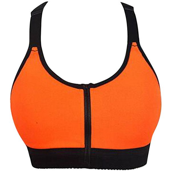 Womens Sexy Color Block Zipper Front Sports Bra Orange (31 CAD) ❤ liked on Polyvore featuring orange