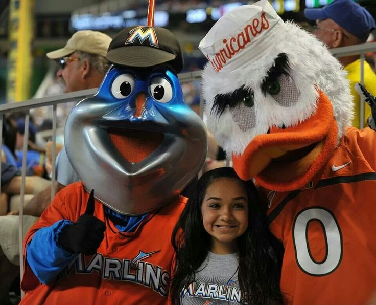 Two mascots attended the NCAAF Miami Hurricanes at the Sun Life Stadium in Miami Gardens, FLA