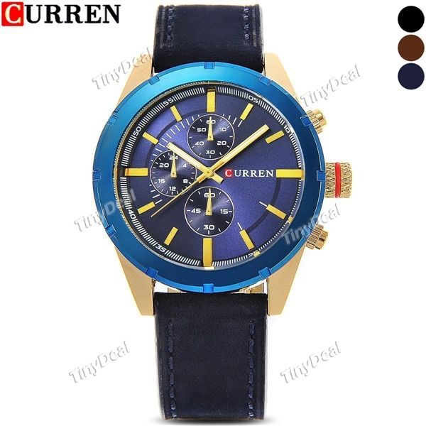 Curren Sub-dial Genuine Leather Watch Strap Fashion Business Men Watch 3ATM Water Resistance WWT-384134
