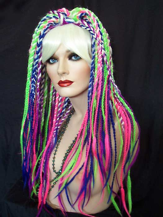 Nirvana Wig: White with Multi Color Dreads Twists