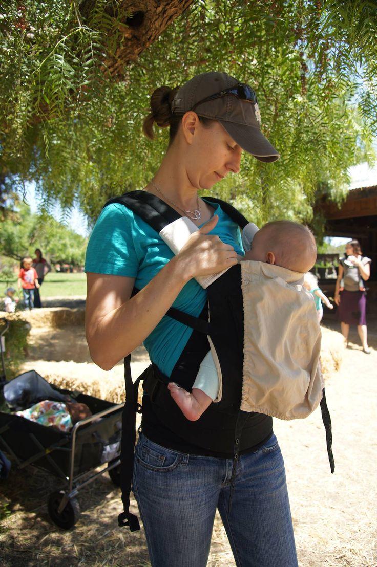 Modern babywearing article : can I nurse in this carrier  Sarah, a Volunteer Babywearing Educator demonstrates one-handed nursing in an Ergo