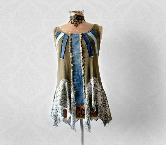 Boho Tank Top Eco Friendly Clothing Recycled Denim Olive Green Tattered Shirt Gypsy Chic Tunic Wearable Art Clothes Layered Top L XL 'TRUDY'