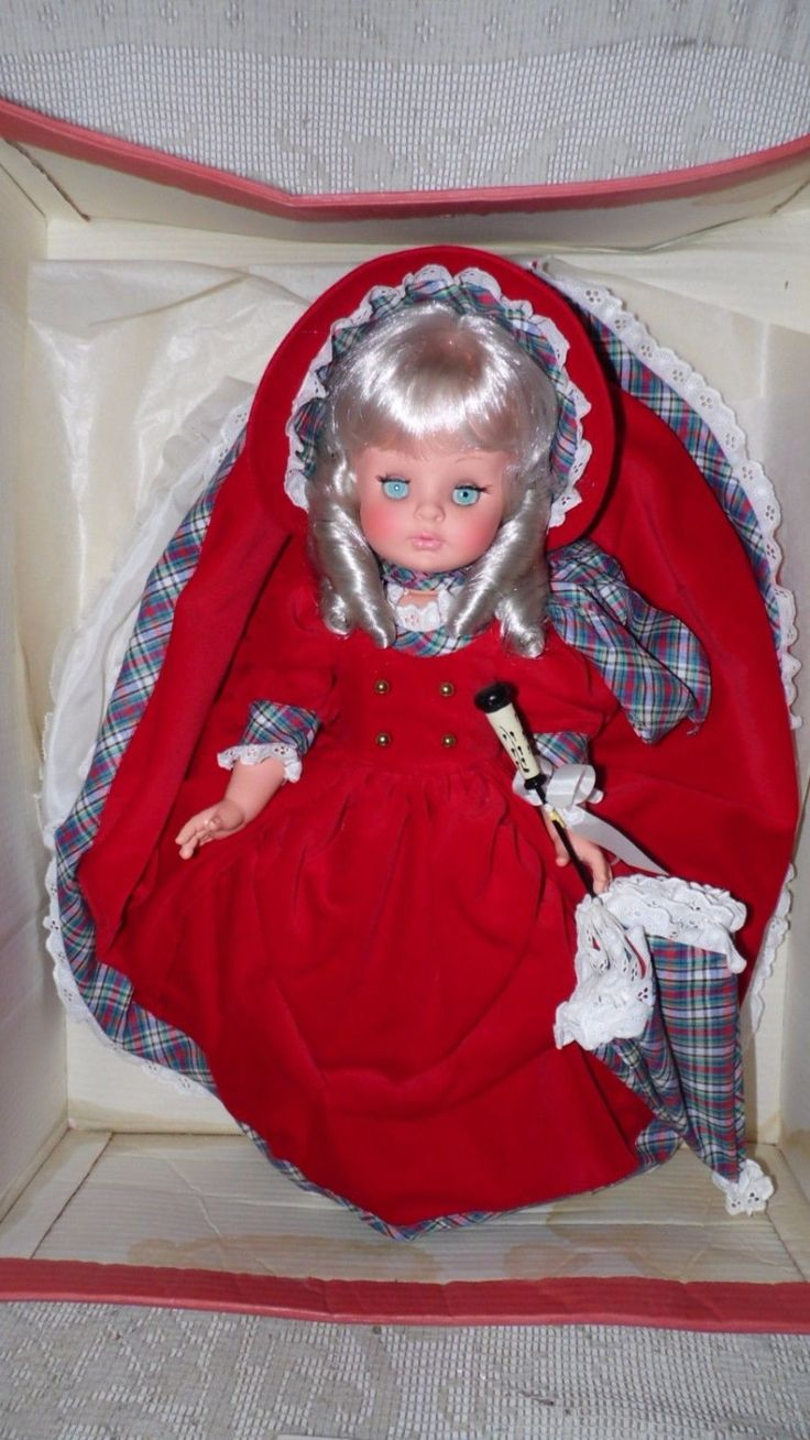 """Vintage Furga Doll With Umbrella made In Italy """"Tina"""" 20"""" #54 #6270 New In Box by FabulousFinds1 on Etsy"""