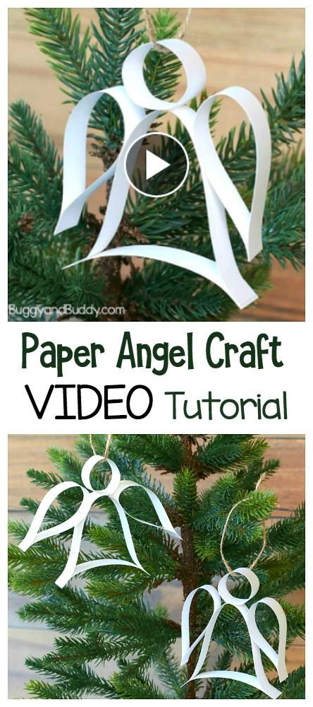 Learn how to make this easy Christmas Ornament Craft for Kids in this VIDEO tutorial: DIY Paper Strip Angel Ornament! (Includes free printable template) These homemade are perfect to do last minute. Great for kids of all ages and adults! ~ BuggyandBuddy.com #Christmascrafts #homemadeornaments #angels #angelornament #videotutorial