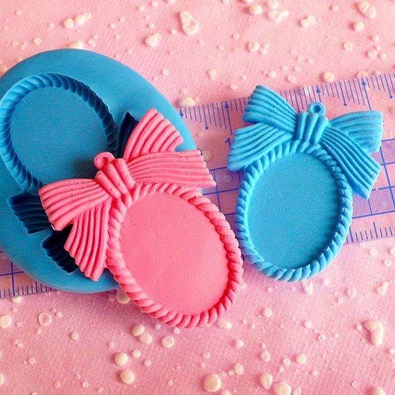 Frame Setting Mold w/ Ribbon 40mm Flexible Mold Silicone Mold Kawaii Jewelry Mold Scrapbooking Fimo Polymer Clay Resin Cell Phone Deco Mold. $6.25, via Etsy.