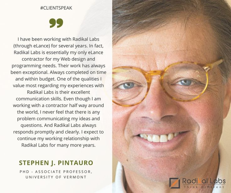 Another brilliant performance by our team.  Check out what Stephen J. Pintauro| PhD - Associate Professor, University of Vermont Review has to say about his experience with Radikal Labs. #ClientSpeak