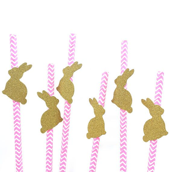 Complete your party with this Bunny chevron paper straws. Glitter cardstock made from shed free cardstock and white on the reverse side. This listing is for 12 pcs paper straws ONLY. ✏️Dont forget to put EVENT DATE on sellers note during checkout 📝 Its MADE TO ORDER, Ship in 2-3