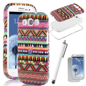 Pandamimi ULAK 3in1 Hybrid High bumper Hard Aztec Tribal Pattern + Soft Silicone Case Cover For Samsung Galaxy S3 W/Screen Protector +Stylus