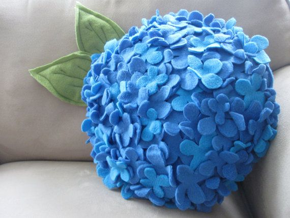 How cute is this? - Fleece Hydrangea Pillow in Blue Soft and Snuggly by Buffalovely