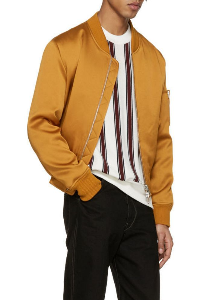 AMI Alexandre Mattiussi Orange Satin Bomber Jacket from SSENSE (men, style, fashion, clothing, shopping, recommendations, stylish, menswear, male, streetstyle, inspo, outfit, fall, winter, spring, summer, personal)