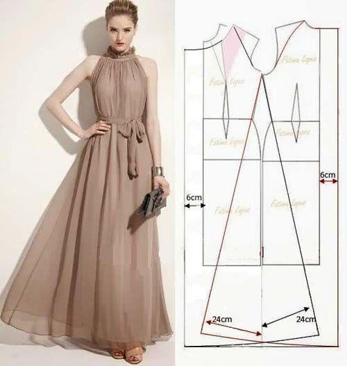 95b4593266 Patrones para hacer vestidos largos - Vestido azul