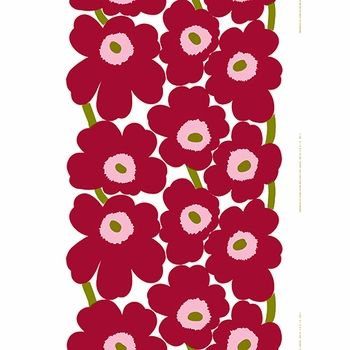 Made in Finland where the design was born, this 100% cotton fabric would look lovely as a wall hanging, table linen or curtain panel among other possible projects. Marimekko Unikko White/Cherry Fabric - $53