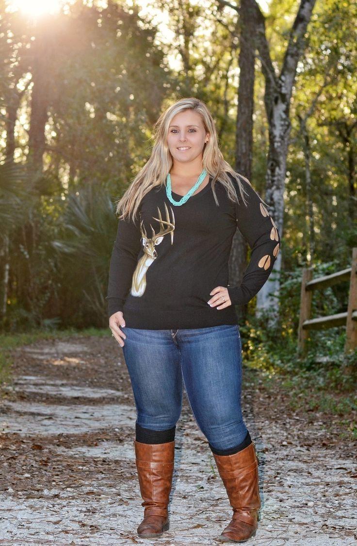 Sporty Girl Apparel Ladies Plus Size Black Knit Big Buck