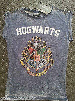 HARRY POTTER PRIMARK T SHIRT Hogwarts Burnout WOMENS LADIES Blue sizes 6 - 20 - Click. Buy. Love. - 4