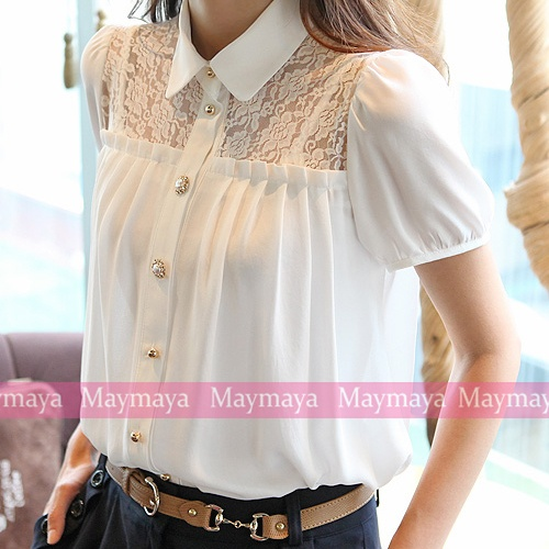 Chiffon point collar Lace chest Top Shirt Blouse